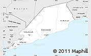 Silver Style Simple Map of Former South Yemen