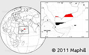 Flag Location Map of Yemen, blank outside