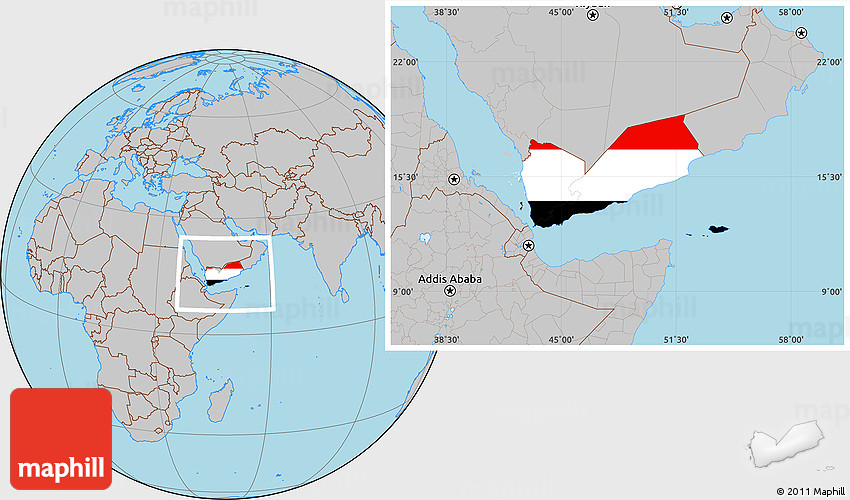 Location Of Yemen On World Map.Flag Location Map Of Yemen Gray Outside