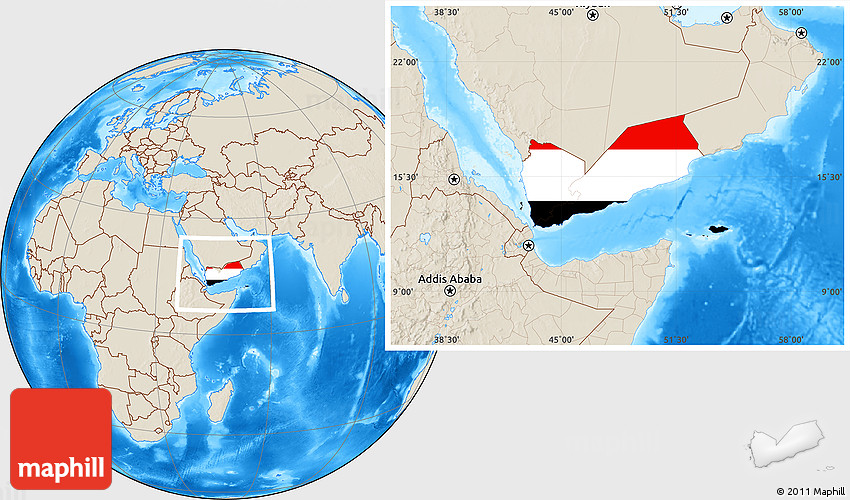 Flag Location Map of Yemen, shaded relief outside