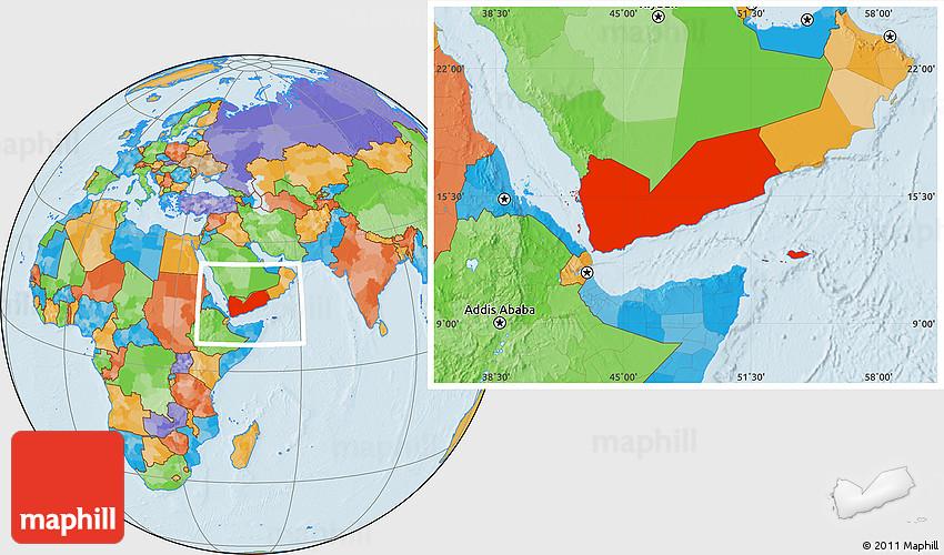 Political Location Map of Yemen