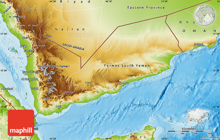 Physical Map Of Yemen - Yemen maps with countries