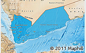 Political Shades Map of Yemen, satellite outside, bathymetry sea