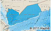 Political Shades Map of Yemen, shaded relief outside, bathymetry sea