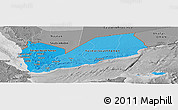 Political Shades Panoramic Map of Yemen, desaturated