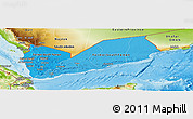 Political Shades Panoramic Map of Yemen, physical outside