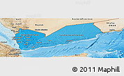 Political Shades Panoramic Map of Yemen, satellite outside, bathymetry sea