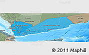 Political Shades Panoramic Map of Yemen, semi-desaturated, land only