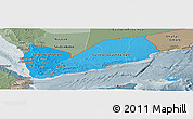 Political Shades Panoramic Map of Yemen, semi-desaturated