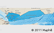 Political Shades Panoramic Map of Yemen, shaded relief outside, bathymetry sea