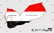 Flag Simple Map of Yemen