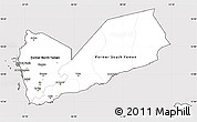 Silver Style Simple Map of Yemen, cropped outside