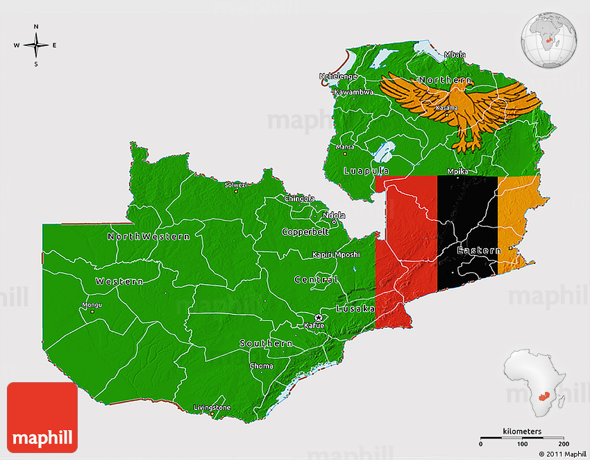 Flag D Map Of Zambia - Zambia map