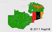 Flag 3D Map of Zambia