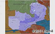 Political Shades 3D Map of Zambia, darken