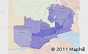 Political Shades 3D Map of Zambia, lighten