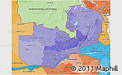 Political Shades 3D Map of Zambia