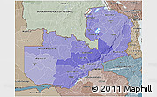 Political Shades 3D Map of Zambia, semi-desaturated