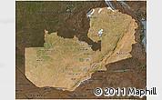 Satellite 3D Map of Zambia, darken
