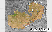 Satellite 3D Map of Zambia, desaturated