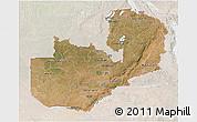 Satellite 3D Map of Zambia, lighten