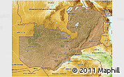 Satellite 3D Map of Zambia, physical outside