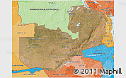 Satellite 3D Map of Zambia, political shades outside
