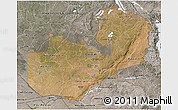 Satellite 3D Map of Zambia, semi-desaturated