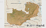 Satellite 3D Map of Zambia, shaded relief outside
