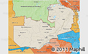 Shaded Relief 3D Map of Zambia, political shades outside