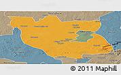 Political Panoramic Map of Kabwe Rural, semi-desaturated