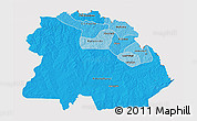 Political Shades 3D Map of Copperbelt, cropped outside
