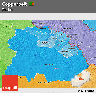 Political Shades 3D Map of Copperbelt