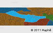 Political Panoramic Map of Chingola, darken