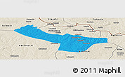 Political Panoramic Map of Chingola, shaded relief outside