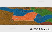Political Panoramic Map of Kalulishi, darken