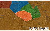 Political 3D Map of Luanshya, darken