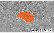 Political 3D Map of Luanshya, desaturated