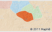 Political 3D Map of Luanshya, lighten