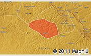 Political 3D Map of Luanshya, physical outside
