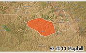 Political 3D Map of Luanshya, satellite outside