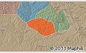 Political 3D Map of Luanshya, semi-desaturated