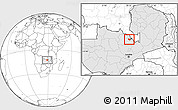 Blank Location Map of Luanshya, highlighted country