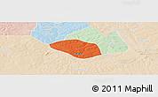 Political Panoramic Map of Luanshya, lighten