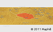 Political Panoramic Map of Luanshya, physical outside