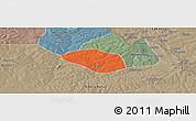 Political Panoramic Map of Luanshya, semi-desaturated