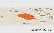 Political Panoramic Map of Luanshya, shaded relief outside