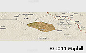 Satellite Panoramic Map of Luanshya, shaded relief outside
