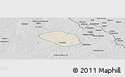 Shaded Relief Panoramic Map of Luanshya, desaturated