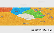 Shaded Relief Panoramic Map of Luanshya, political outside